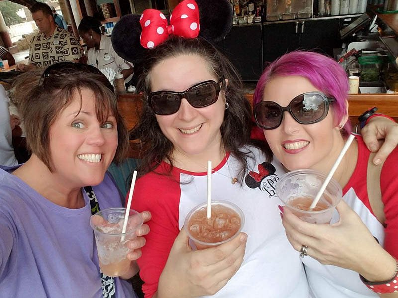 Enjoying an adult beverage at Walt Disney World