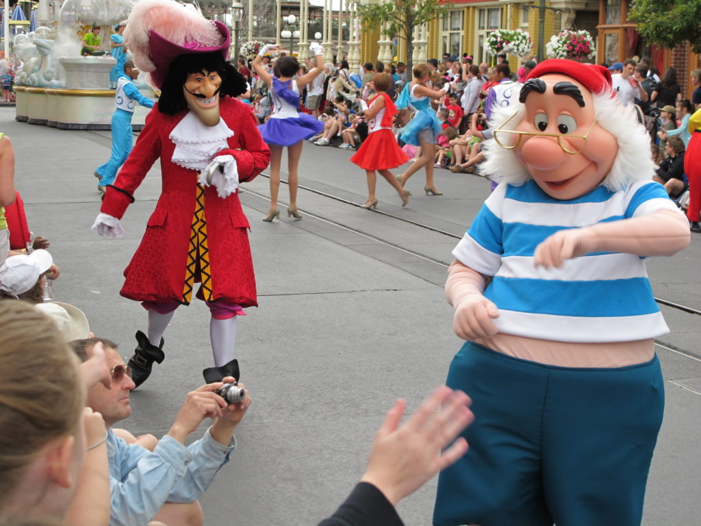 Captain Hook and Mr. Smee on Main Street USA at Walt Disney World