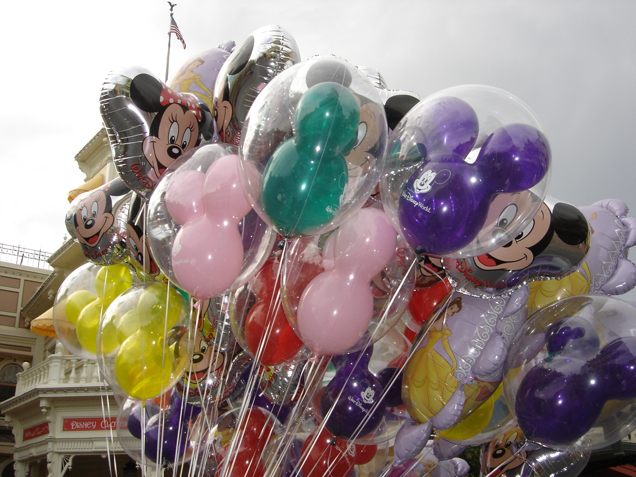Disney balloons on Main Street, U.S.A.