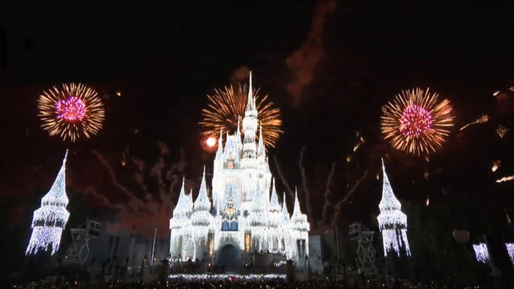 Holiday ice lights on Cinderella Castle at Walt Disney World