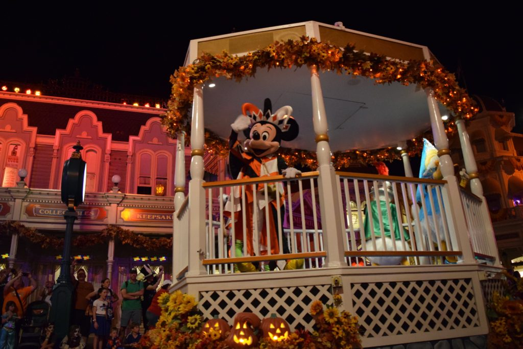 Mickey on a float in Boo to You Halloween Parade