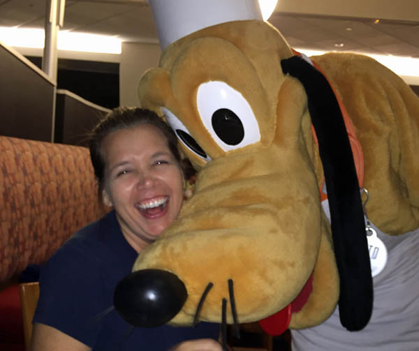 Meeting Pluto at Chef Mickey's